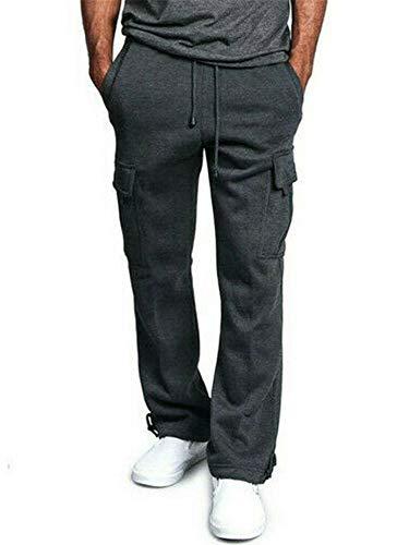N /C Pantalones deportivos para hombre con varios bolsillos elásticos
