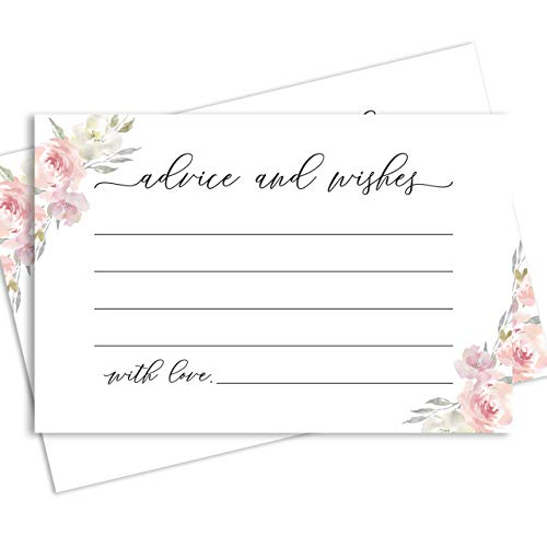 Wedding Advice Cards for The Bride and Groom, Set of 50 Floral 4x6 Wedding Wishing Well Cards, Also Perfect as Baby Shower, Bridal Shower, Graduation, Wedding Shower and Baby Advice Cards