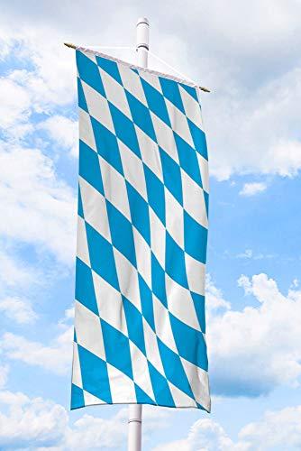 Deitert Bundesland-Flagge Bayern – 80x200 cm Bayern-Flagge (Raute), Bannerfahne aus reißfestem Polyester, Bayern-Fahne mit Doppelsicherheitsnaht gesäumt