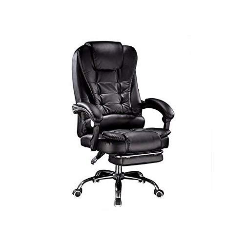 HENGXIANG technische lederen bureaustoel zwart en wit grote luxe computerstoel Zwart