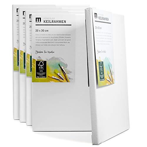 5er-Set 20x30cm Künstler-Leinwand Canvas zum Bemalen. Die Leere, weiße Leinwand aus 100% Baumwolle ist umlaufend aufgespannt auf FSC® Holz-Keilrahmen mit 17mm Stärke, 280g/m², 2-Fach weiß grundiert