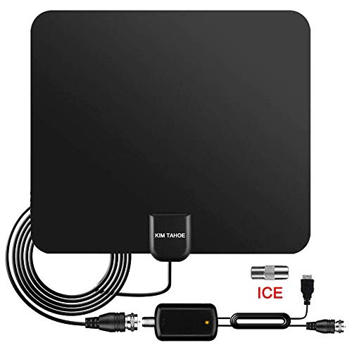 TV Aerial, 2021 LATEST Freeview Indoor Digital Thin HDTV Aerials with Long 100+ Miles Range with Amplifier Signal Booster for 4K 1080P HD Life Local Channels, Support TVs - 13ft Coaxial Cable