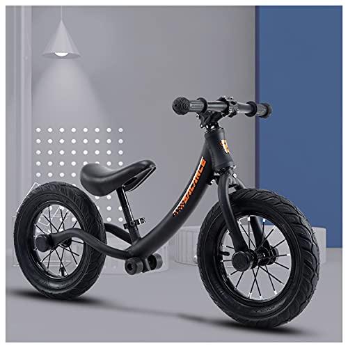 Bicicleta De Balance De 12 'para Niños De 2 A 6 Años De Edad Para Niños Bicicleta De Entrenamiento De Bicicletas Con Puntuaciones, Asiento Ajustable, Neumáticos De Aire, Aleación De Alumi(Color:Negro)
