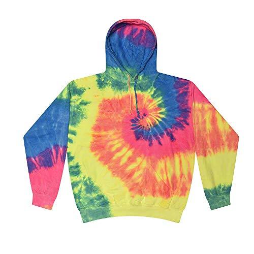 Colortone Tie Dye Hoodie Kids 6-8 (SM) Neon Rainbow