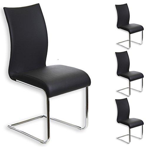 IDIMEX Esszimmerstuhl Schwingstuhl ALADINO, Set mit 4 Stühlen Chrom/schwarz