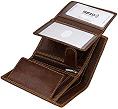 Wallet for Men With Coin Pocket RFID Leather Card Holder Big Trifold 3 ID Windows (Coffee)