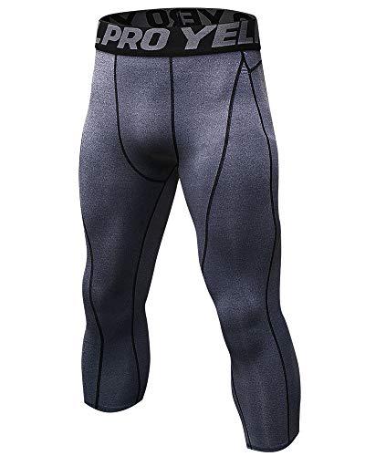 Shengwan Leggings 3/4 Hombre Deportivos Mallas Térmicos Correr Gimnasio Pantalones de Compresión Gris S
