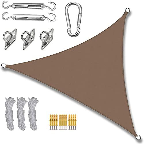 ZCPDP Sun Shade Sail Impermeable Patio al Aire Libre Patios Patios Partes Toldo Toldo Triángulo 98% UV Canvas 5x5x5m Sombrilla de Sol Cuerda de Cuerda Fijación (Color : M, Size : 3x3x3m)