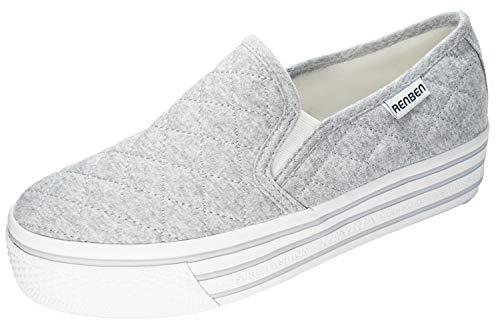 [RENBEN]3092GREYオリジナルブランドスリッポンスニーカーファッション靴キルティング厚底スニーカーカジュアル