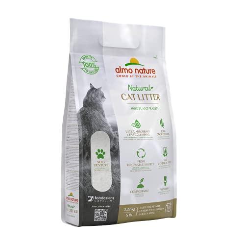 almo nature Arena Gatos Aglomerante Cat Litter 5 LB (2,27 kg). Tierra para Gatos Absorbente Antiolor. Arena Biodegradable Suave de Fibra Vegetal Ecológica.