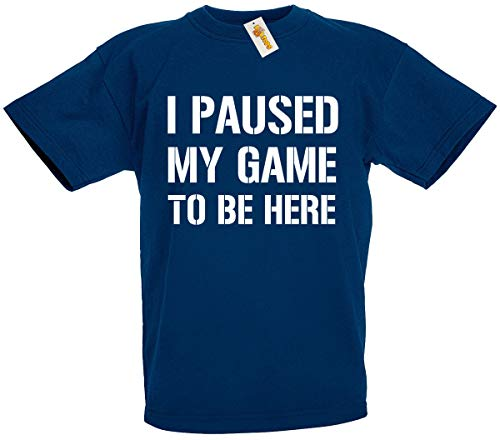 loltops I Paused My Game to Be Here Novelty T-Shirt for Boys, Kids (12-13 Years, Navy)