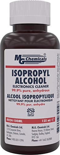 MG Chemicals 824 99.9% Isopropyl Alcohol EleCountronics Cleaner, 125 mL Liquid Bottle Clear 4.23 Fl Oz (Pack of 1)