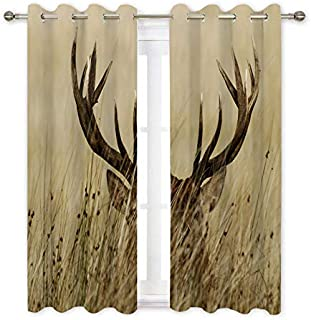 Misscc Decorative Blackout Curtains,Stag Hiding in The Grass Pattern Window Treatments Drapes 2 Panel Set,Living Room Bedroom Kitchen Cafe Curtains