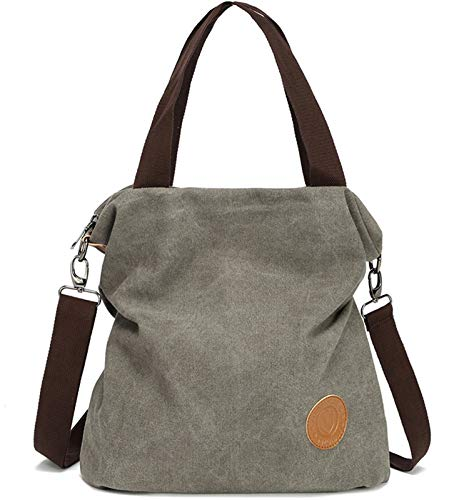 Myhozee Canvas Handbag Shoulder Bag Women-Vintage Hobo Top Handle Shopping Crossbody Bag Tote Casual Beach Multifunction Bags for Ladies Women(Gray)