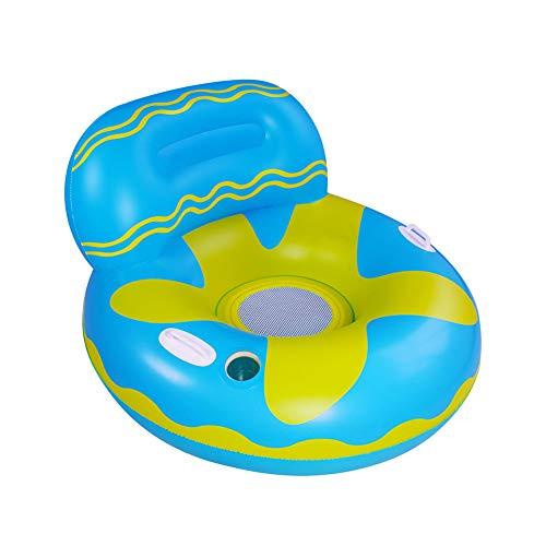 Queta Schwimmring Erwachsene,Aufblasbare Float-Floß,Aufblasbarer Schwimmring mit Rückenlehne und Getränkehalter,Aufblasbarer Spielzeug für Erwachsene und Kinder mit Griffen für mehr Sicherheit