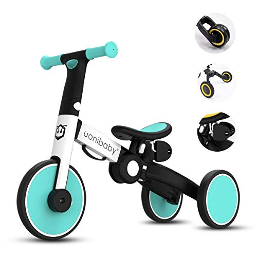 OLYSPM Balance Bike 4 in 1 per Bambini,Bicicletta Senza Pedali,Triciclo Senza Pedali,per 1.5-5 Anni Baby Boys Girls,Altezza del Sedile Regolabile (Azzurro)