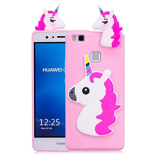 Funluna Funda Huawei P9 Lite, 3D Unicornio Silicona Dibujo Animado Suave Case Cover Protección Cáscara Soft Gel TPU Carcasa para Huawei P9 Lite, Rose