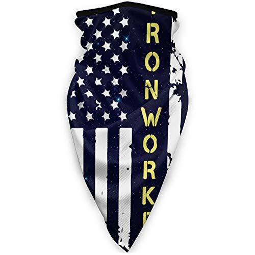 Ironworker American flag Men Women Neck Gaiters Bandana Adult Wrist Strap for Outdoor Sports