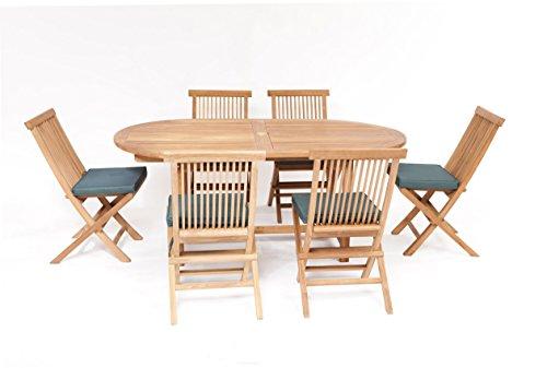 Humber Imports 'La Baule Teak Garden Furniture 13 Piece Patio Set Set Top Grade Teak 6 Foot Table 6 Stacking Chairs & Tailored Cushions