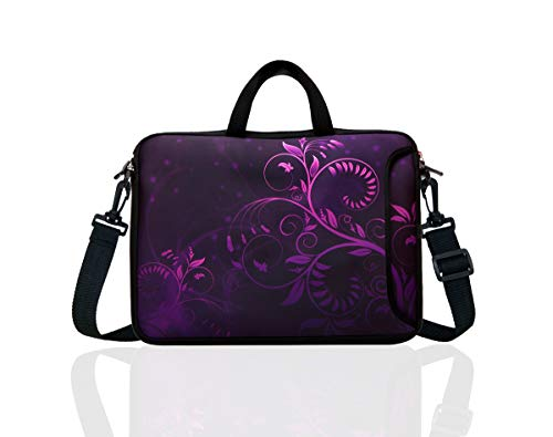 "10-Inch Laptop Shoulder Bag Sleeve Case with padded handle for 9.6"" 9.7"" 10"" 10.1"" 10.5"" Ipad/Netbook/Tablet/Reader (Purple)"