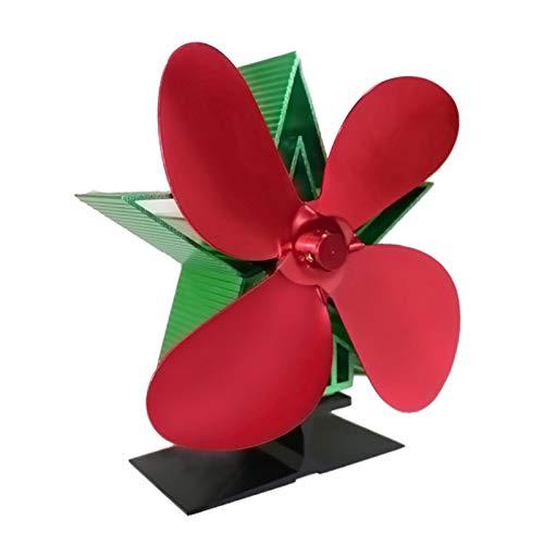 Baoblaze 4 aspas Ventilador de la Estufa de aleación de Aluminio Quemador de Registro distribución de Calor Ventilador de Chimenea circulación - Rojo, Verde