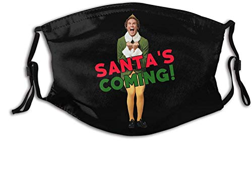 Unisex Reusable Buddy The Elf Christmas Santa Reusable Face Mask Washable Mouth Cover Breathable Bandana with 2 Replaceable Filters Made in US
