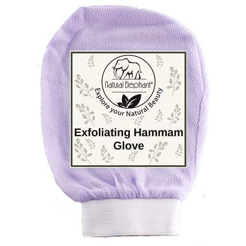 Natural Elephant Exfoliating Hammam Glove - Face and Body Exfoliator Mitt (Lovely Lilac)