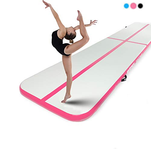 Murtisol 27ft Inflatable Gymnastics Training Mats Tumbling Mats 6 Inch Thickness for Home Use/Training/Cheerleading/Yoga/Water Fun with Electric Pump Pink