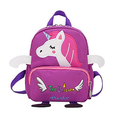 Demarkt Baby rugzak kleuterschool rugzak mooi paard patroon schooltas anti-verloren rugzak voor kleine kinderen jonger dan 6 jaar, lila (violet) - W9Z2HO39Q1BJIR614P709Y
