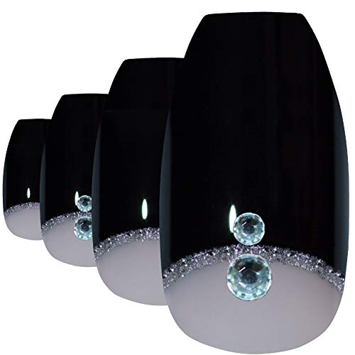 Faux Ongles Bling Art Noir Crystal Ballerine Cercueil 24 Longue Faux bouts d'ongles acrylique avec colle