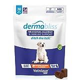 Dermabliss Allergie saisonnière et soutien immunitaire pour chiens avec oméga 3-6-9, probiotiques, enzymes, huile de poisson - Gâteries pour chiens à saveur de caryer et saumon (30 unités)