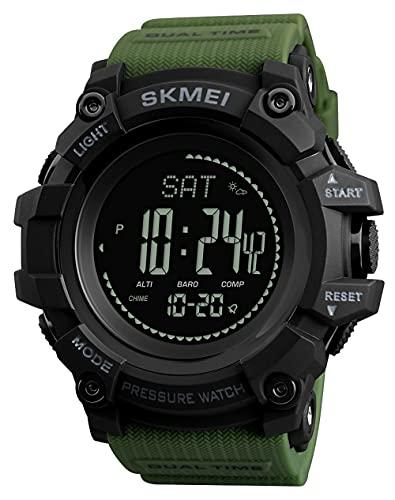 Panduo YLB Reloj al Aire Libre para Hombre con Reloj Compass Altímetro Barómetro Termómetro Termómetro Pedómetro Reloj Militar Ejército Impermeable Aire Libre Sport Reloj Digital para Hombres
