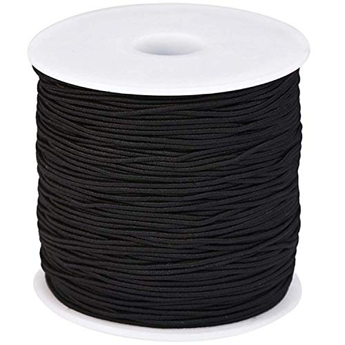 Elastic Cord Stretchy Round String Ear Loop Strap Bracelets Thread Beading Threads for DIY Craft Handmade Making Stretch Rope Band Black 1.0 mm Length of 109 Yards