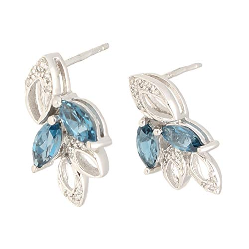 Pendientes de oro blanco de 9 quilates con topacio azul Londres y diamantes (9 x 17 mm) | El regalo perfecto para una dama especial | Jollys Jewellers