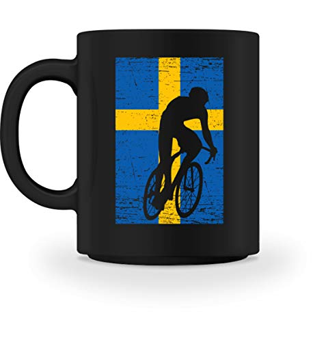 Generisch Schweden Fahrrad Team - National Flagge Mannschaft Land Fan Rennrad Radsport Motiv - Tasse -M-Schwarz