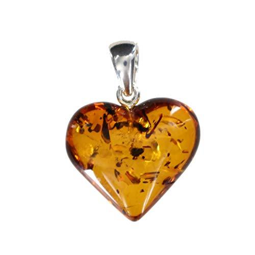 Artisana, ciondolo a forma di cuore in ambra e argento sterling 925/000