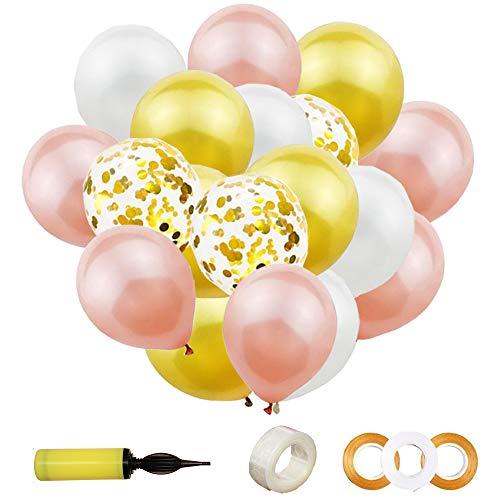 Aweisile Globos 40 Piezas Globos Metalizados Dorados Globos de Confeti Dorados Latex Blancos Globo de Oro Rosa con 3 cinta 1 bomba de globo 1 cadena de globo, para Decoraciones Fiestas Aniversario