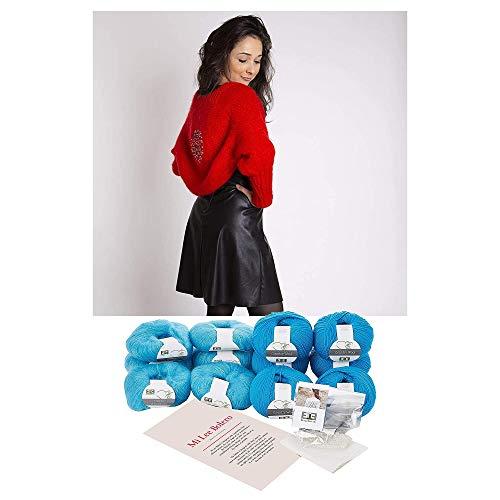 DesignEtte Mi Lee Bolero Strick-Set, Wolle, türkis, 35x 25x 15cm