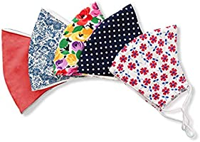 Stylish Cotton Face Mask with Filter Pocket, Handmade Floral Plaid design facemasks for women, washable reusable 3...