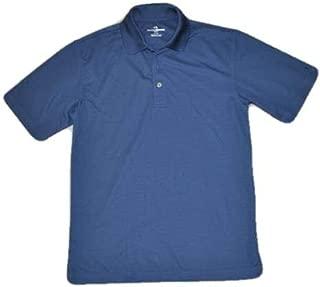 Men's Ottoman Textured Performance Short Sleeve Polo Golf Shirt, Blue, sz S