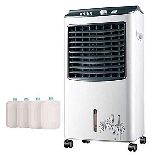 Refroidisseur d'air Portable 4-en-1, Climatiseur Mobile Muet RéServoir 7l Grand RéServoir d'eau 7,5 Heures avec Un Purificateur d'air TéLéCommandé (Blanc)