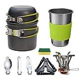 Queta Multi-PCS Kit de Cuisine de Camping, 1-2 Personnes Kit de Casseroles et Poêles Ultra-léger Compact Durable Extérieur Cookware pour Camping Randonnée Pique-Nique Pêche avec Réchaud et Une Tasses