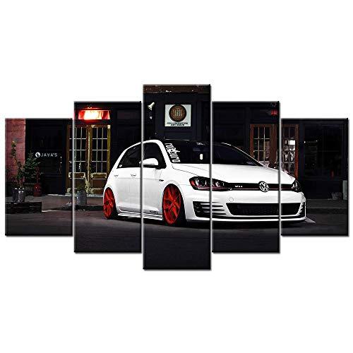 65Tdfc - Hd Druck 5 Kunstdruck Modern - Golf GTI Auto - Wandbilder XXL Vliesstoff Kunstdruck Wanddekoration Wand Wohnzimmer Wandbild Moderne Leinwand