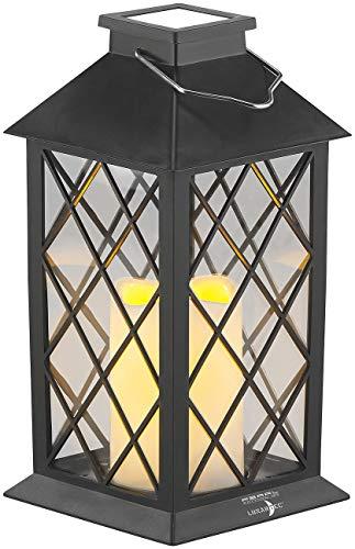 Lunartec Laternenkerzen: Solar-Laterne mit Deko-Kerze und Flammen-Effekt-LED, Dämmerungs-Sensor (Solar-Laterne mit Flacker-Kerze)