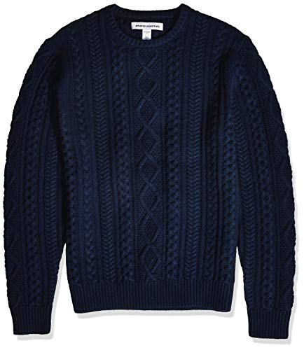 Amazon Essentials Men's Midweight Fisherman Sweater, Navy, Small