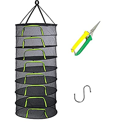 Herb Drying Rack Net 2ft 8 Layer Hanging Drying Rack Net with Zipper, Mesh Plant Drying Rack Net with Pruning Scissors, Hook, for Drying Herb, Bud, Hydroponic Plants