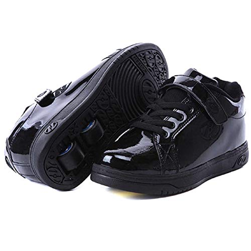 Heelys for Boys and Girls Motion Plus Sneakers with Wheels, 2 Wheeled, (Black Patent, 2 US)