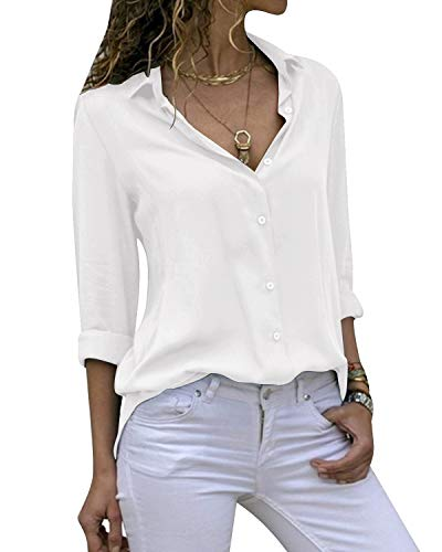 Cassiecy Damen Bluse Chiffon Elegant V-Ausschnitt Langarm Casual Oberteile Hemd Lose Langarmshirt Tops(Weiß,L)