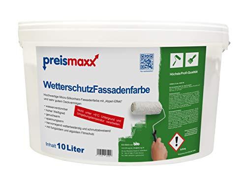 preismaxx Wetterschutz Fassadenfarbe, weiß, 10 Liter, mit selbstreinigendem Abperleffekt, hochwertige, schmutzabweisende Aussen-Dispersion, sehr guter Regenschutz