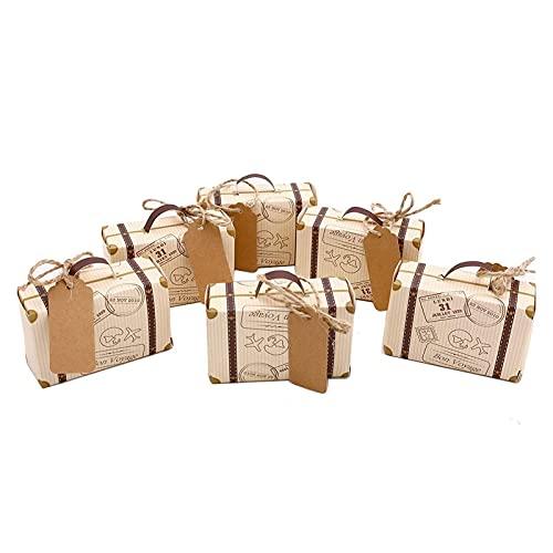 AQCRS 50pcs Mini Valigia Graduazione Scatola Festa con Favore Scatola di Caramelle, Carta Kraft Vintage con Tag e Corda per Il Viaggio a Tema di Viaggio (Color : Kraft)